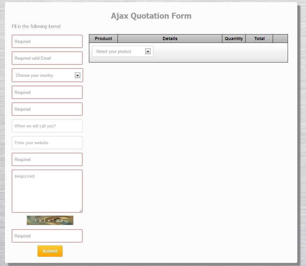 php ajax quotation form by vynex codecanyon. Black Bedroom Furniture Sets. Home Design Ideas