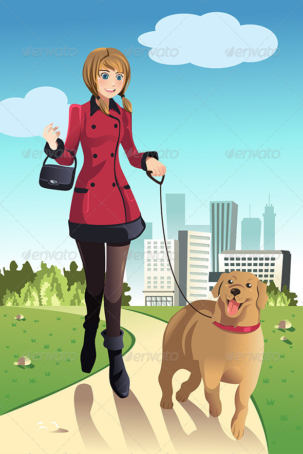 Woman Walking Dogs - People Characters