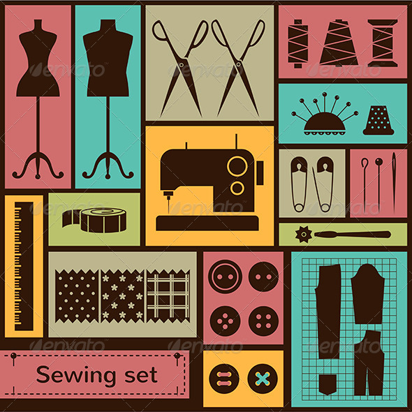 Vector Flat Sewing Icons Set - Industries Business