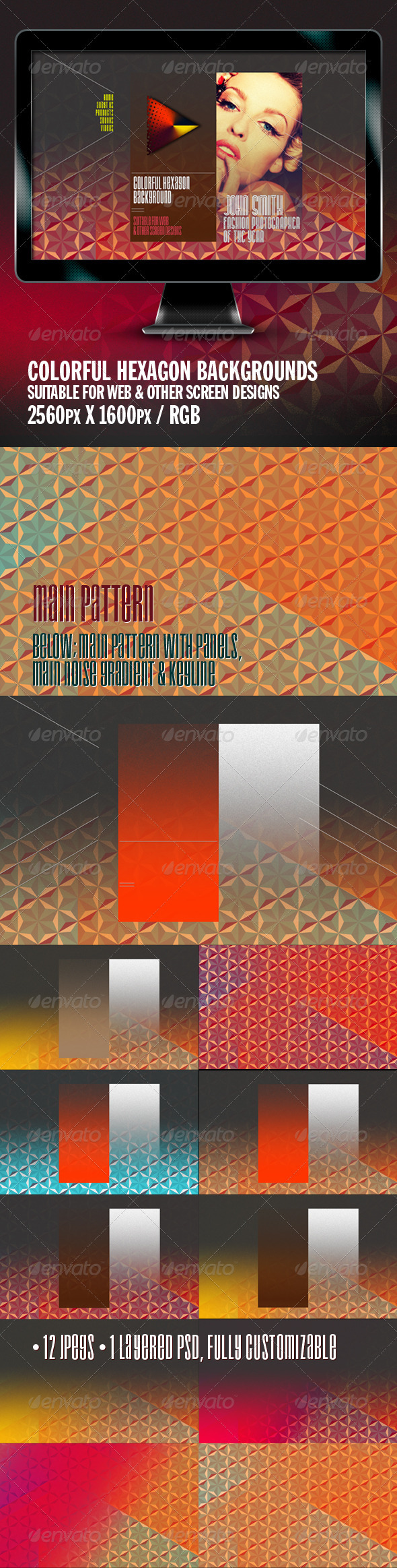 Colorful Hexagon Background - Backgrounds Graphics