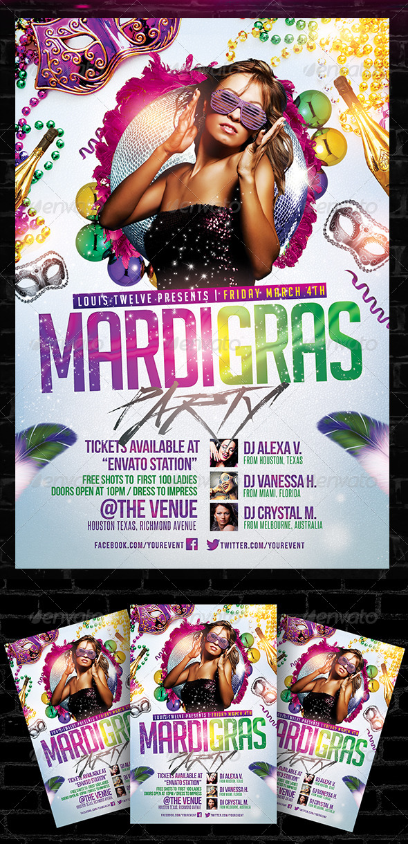 Mardi Gras Carnival Party Flyer Template By Louistwelve Design
