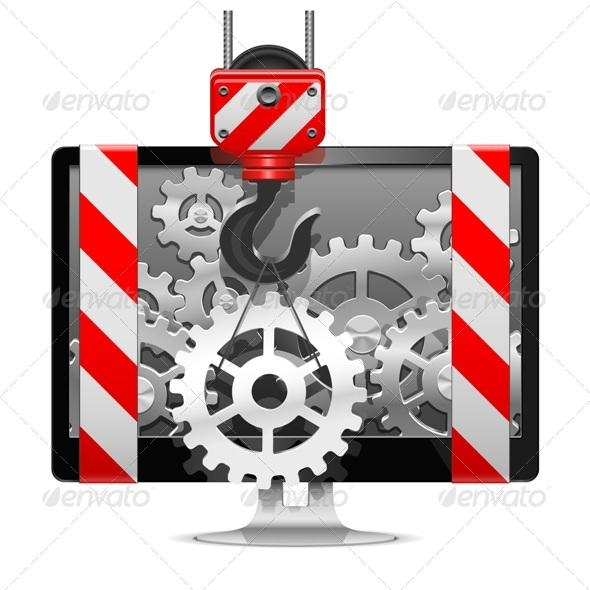 Vector Computer Repair with Crane - Computers Technology