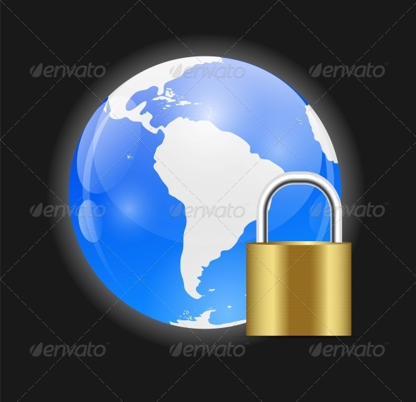 Globe Icon with Protection Lock Vector Illustration - Web Technology