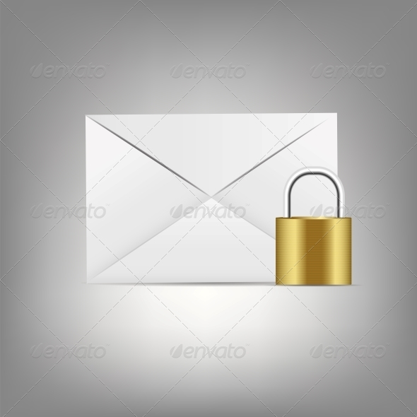 Mail Icon with Lock - Web Technology