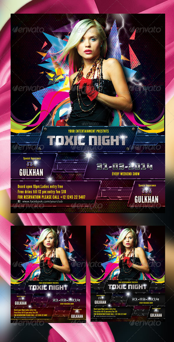 Toxic Night Flyer Template - Clubs & Parties Events