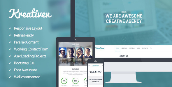 Kreativen - Multipurpose Single Page Template - Creative Site Templates