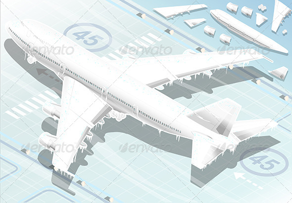 Isometric Frozen Airplane in Rear View - Objects Vectors