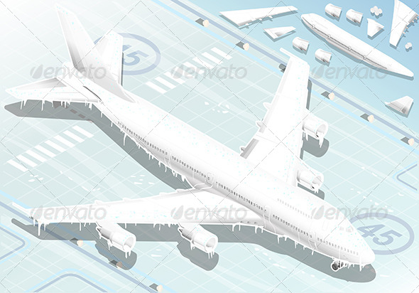 Isometric Frozen Airplane in Front View - Objects Vectors