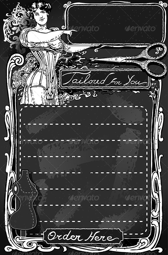 Vintage Blackboard for Tailor Shop - Decorative Vectors