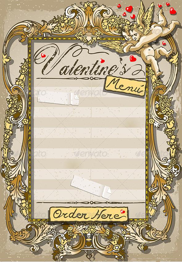 Vintage Graphic Page for Valentine's Menu - Decorative Vectors
