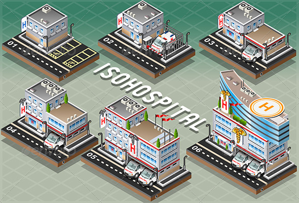 Set of Isometric Hospitals - Buildings Objects