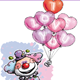 Happy Clown with I Love You Heart Balloons - GraphicRiver Item for Sale