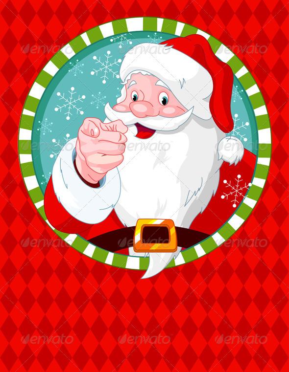 Santa Claus pointing - Christmas Seasons/Holidays