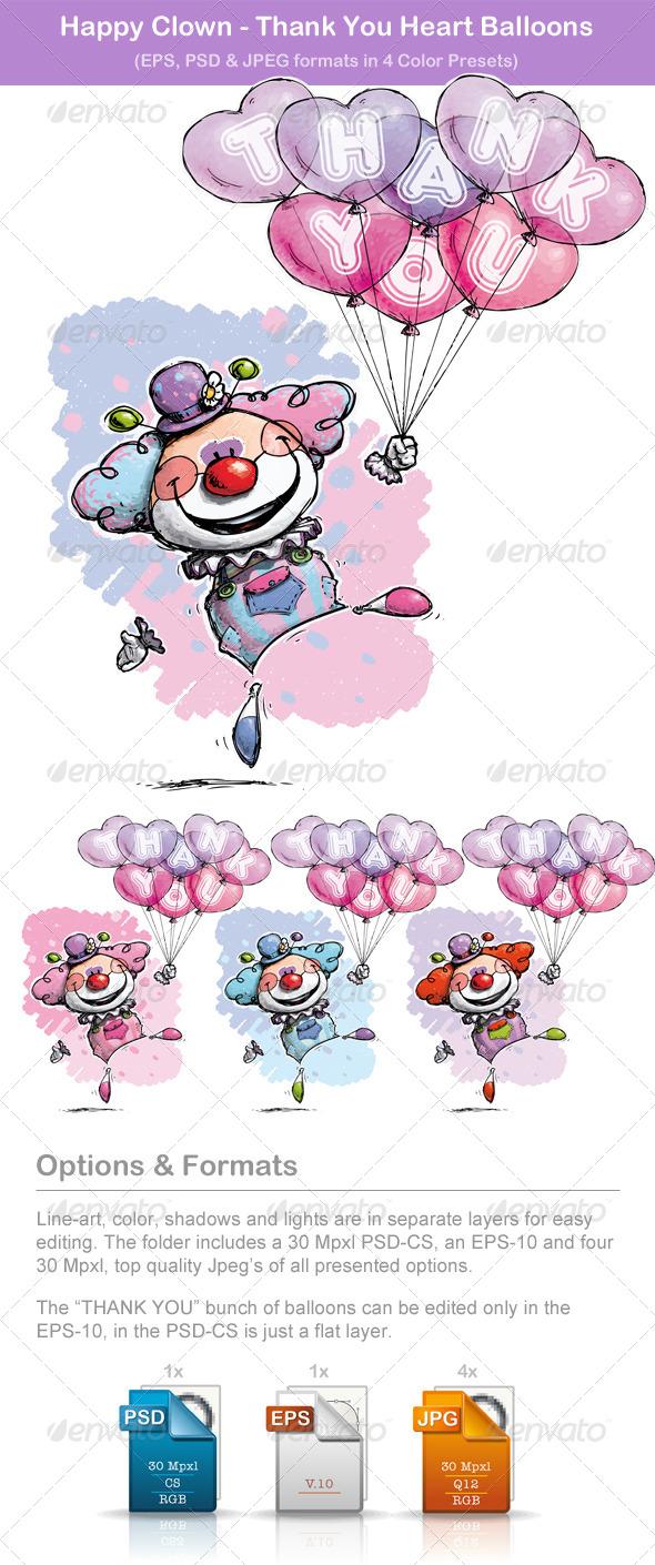 Happy Clown - Thank You Heart Balloons - Valentines Seasons/Holidays