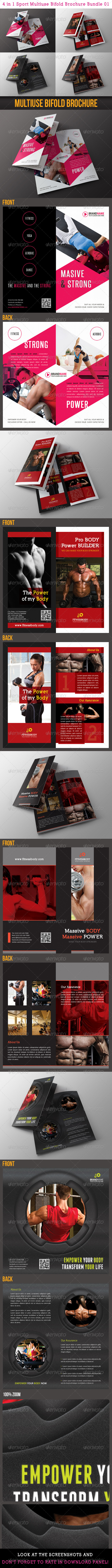 4 in 1 Sport Multiuse Bifold Brochure Bundle 01 - Corporate Brochures