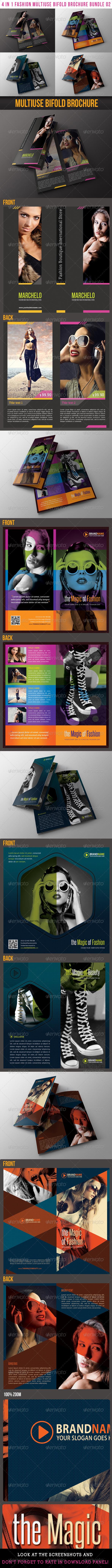 4 in 1 Fashion Multiuse Bifold Brochure Bundle 02 - Catalogs Brochures