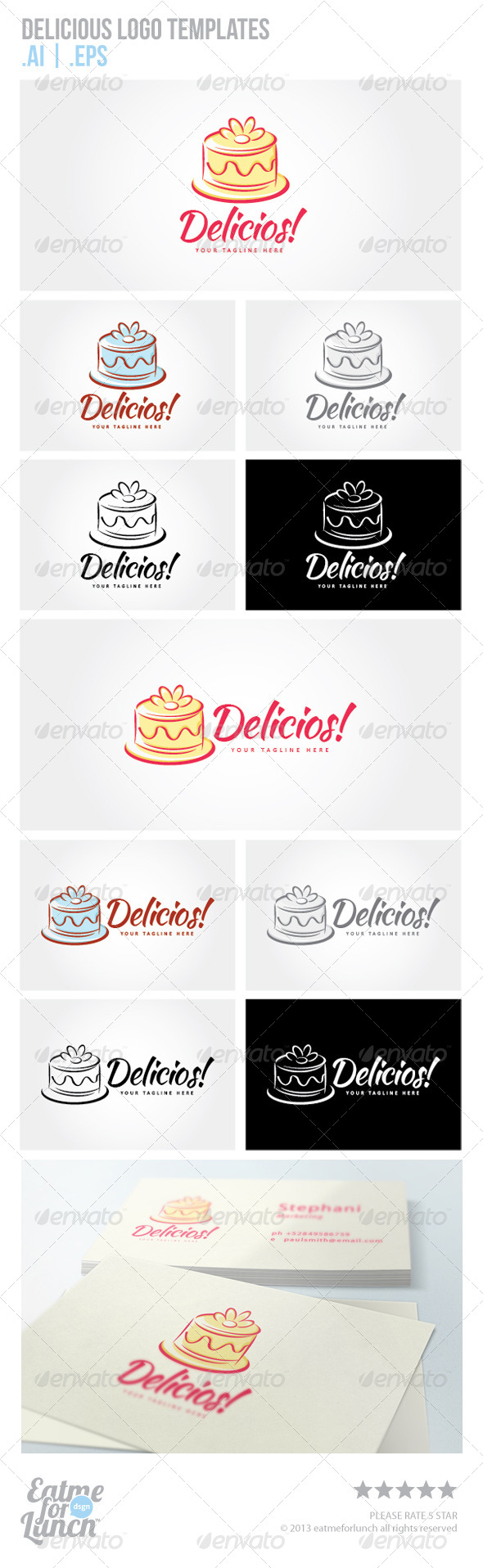 Cake and Tart Logo Templates - Food Logo Templates