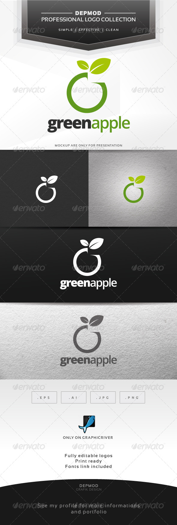 Green Apple Logo - Food Logo Templates