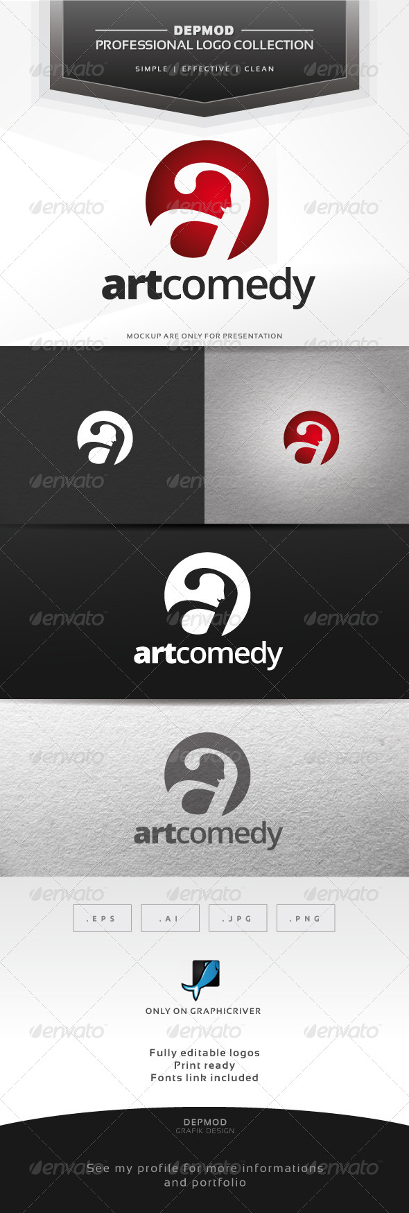Art Comedy Logo - Letters Logo Templates