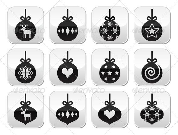 Christmas Bauble Buttons - Christmas Seasons/Holidays
