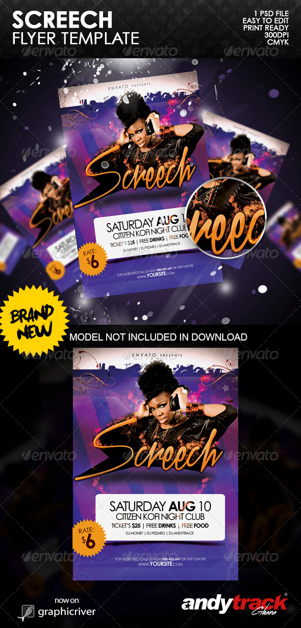 Screech Party Flyer Template - Clubs & Parties Events