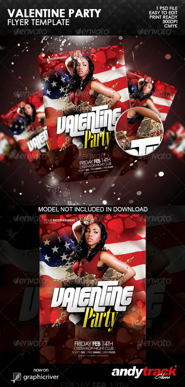 Valentine Party Flyer Template v.1 - Clubs & Parties Events