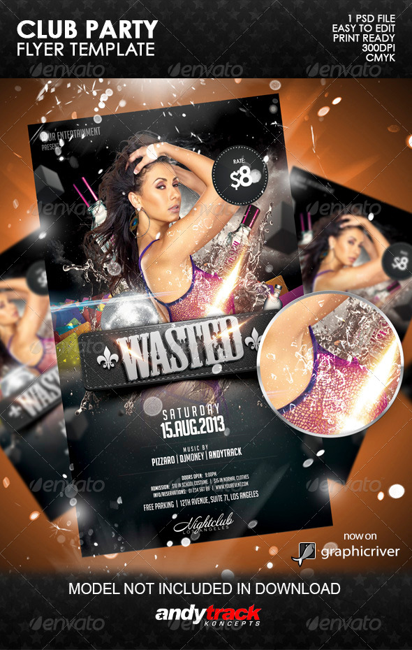 Wasted Party Flyer Template - Clubs & Parties Events