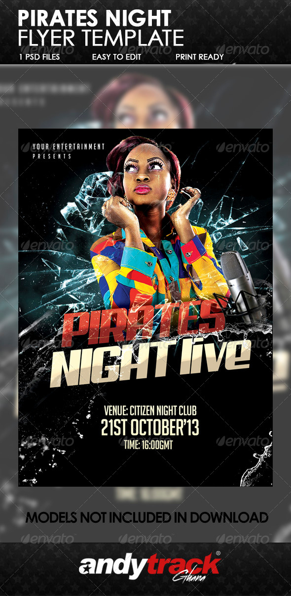 Pirate Night Live Flyer Template - Clubs & Parties Events