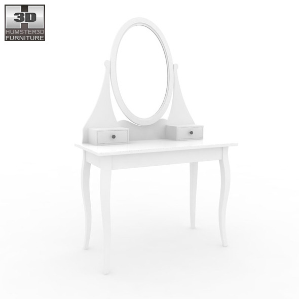 Ikea hemnes dressing table with mirror 3d model by for Ikea dressing table hemnes