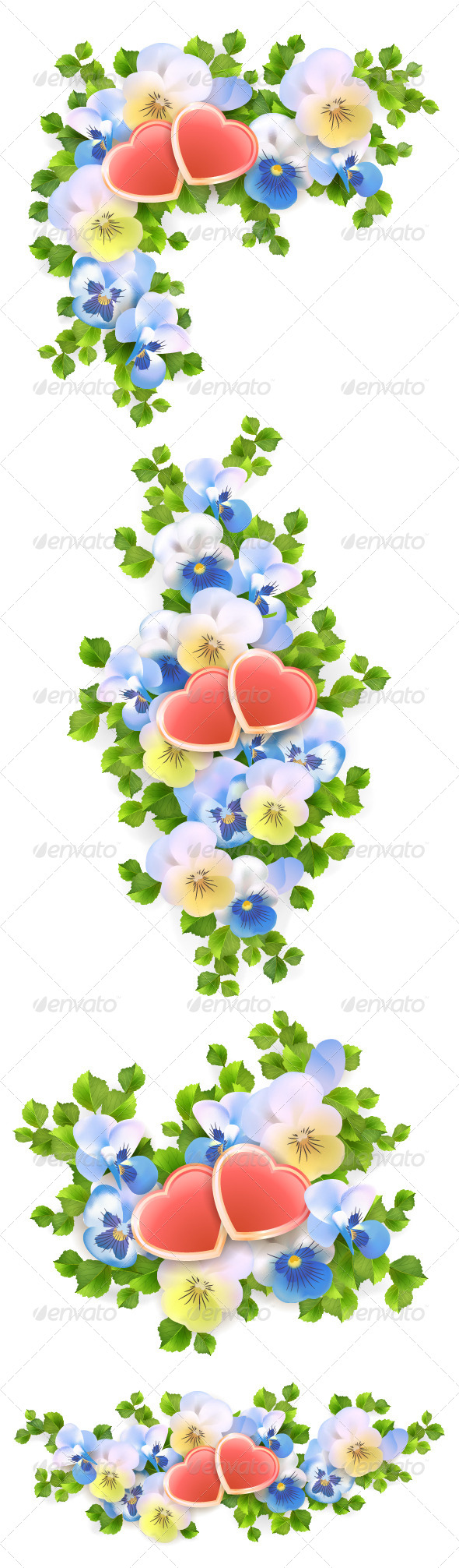 Flowers Bouquet Hearts on White Background - Flowers & Plants Nature