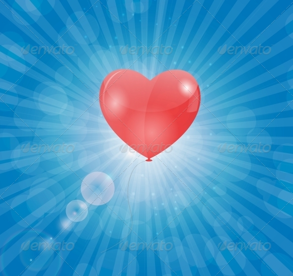 Happy Valentines Day Card with Heart Balloon - Valentines Seasons/Holidays