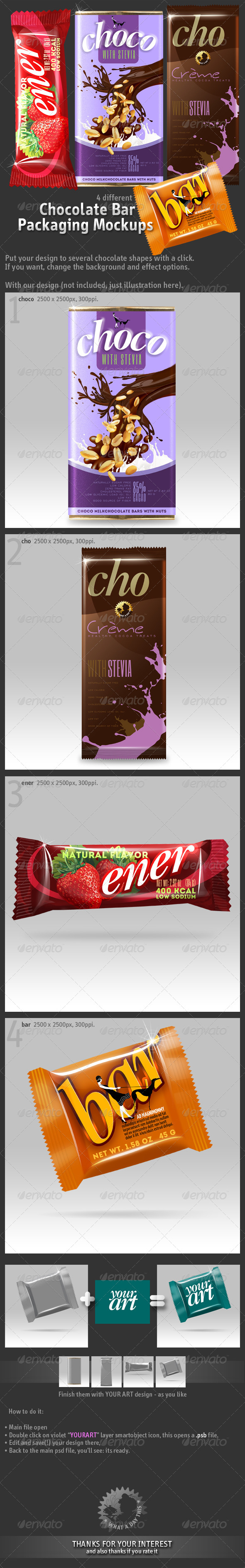 4 Chocolate Bar Packaging Mockups - Food and Drink Packaging