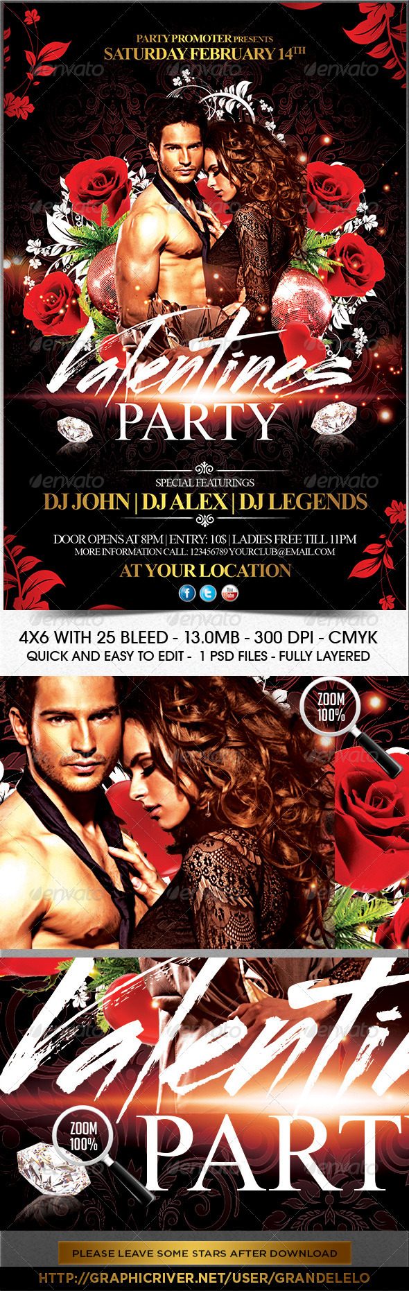 Valentine Day Party Flyer Template - Holidays Events