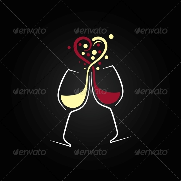 Red and White Wine Love Concept - Food Objects