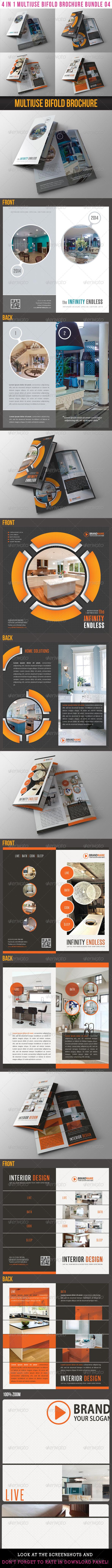4 in 1 Multiuse Bifold Brochure Bundle 04 - Corporate Brochures