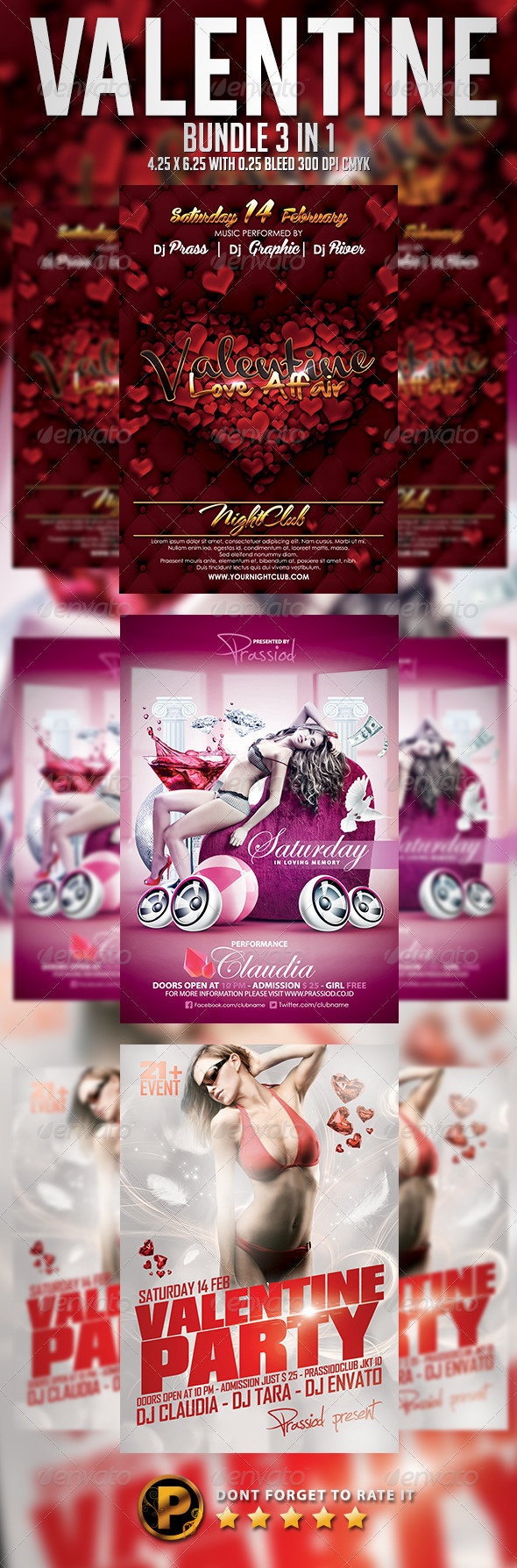 Valentine Flyer Template - Bundle 3 In 1