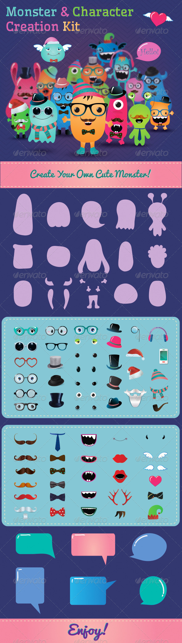 Hipster Monster and Character Creation Kit - Characters Vectors