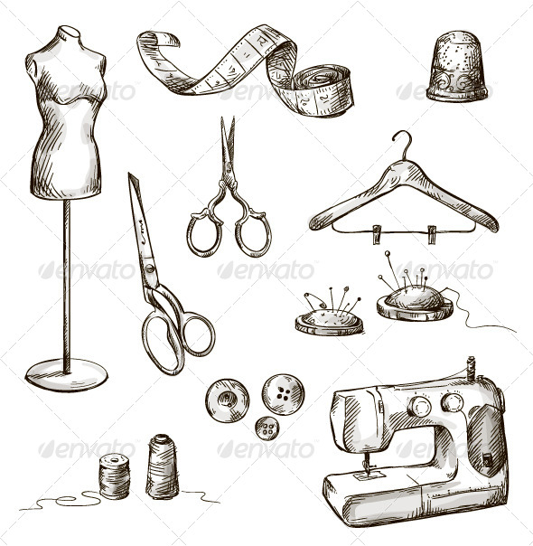 Set of Sewing Accessories - Objects Vectors