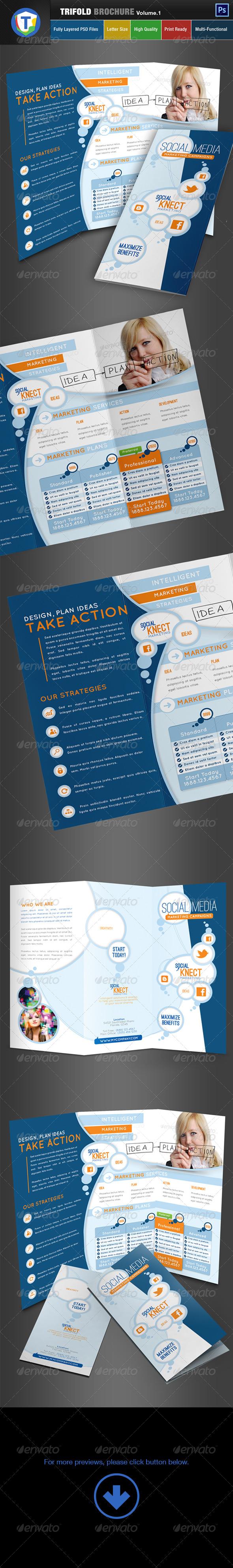 Social Media Trifold Brochure - Volume 1 - Brochures Print Templates