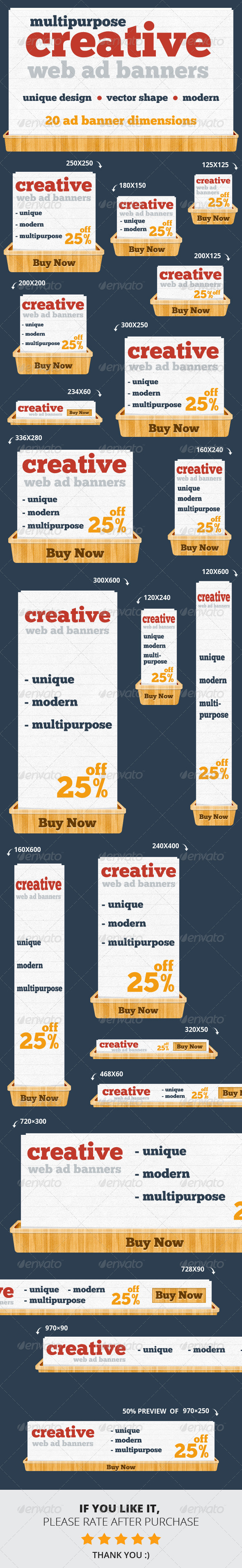 Creative & Unique Web Ad Banners - Multipurpose - Banners & Ads Web Elements