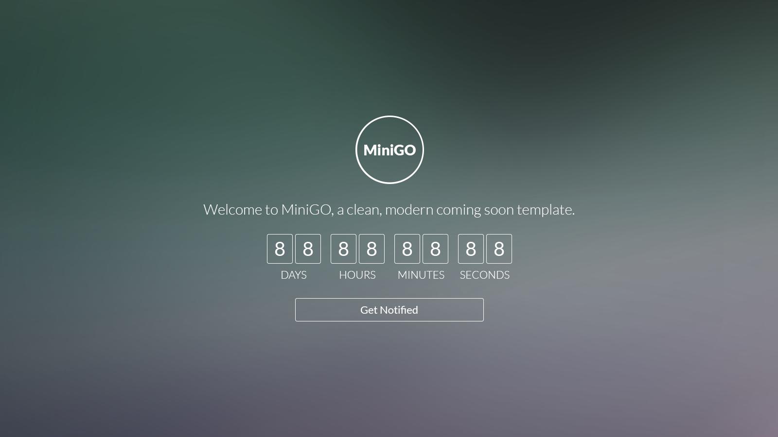 Minigo Uber Minimal Flat Coming Soon Page