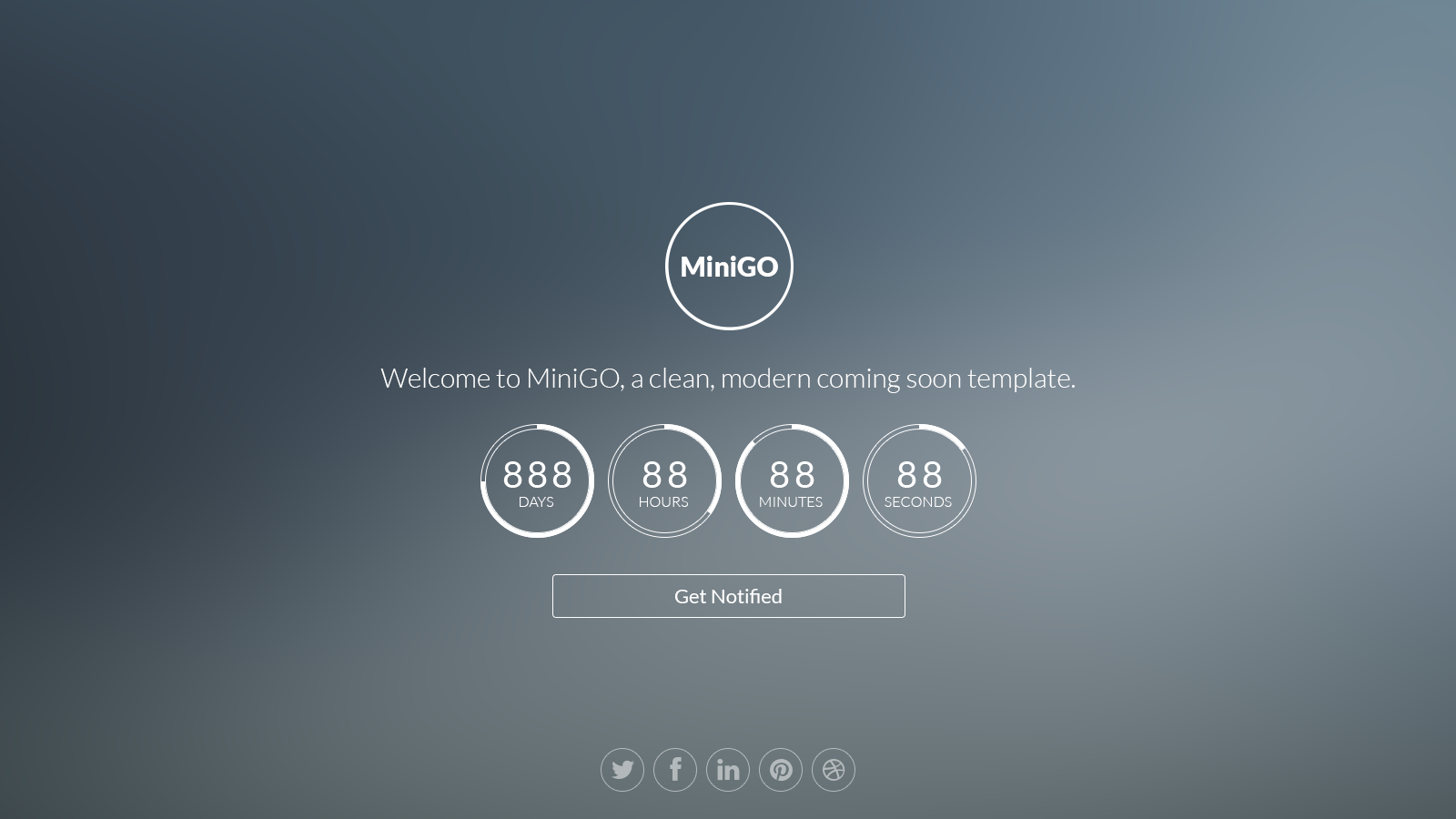MiniGO - Uber Minimal Flat Coming Soon Page by