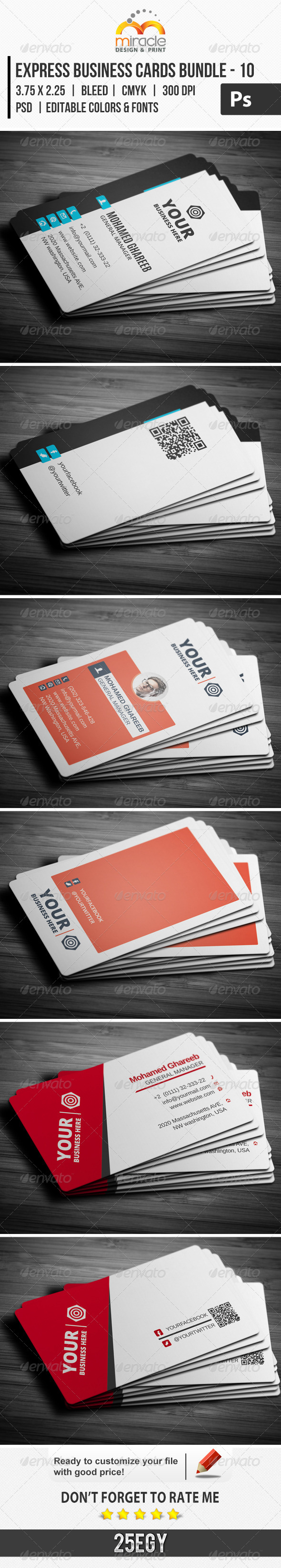 Express Business Cards Bundle - 10 - Corporate Business Cards