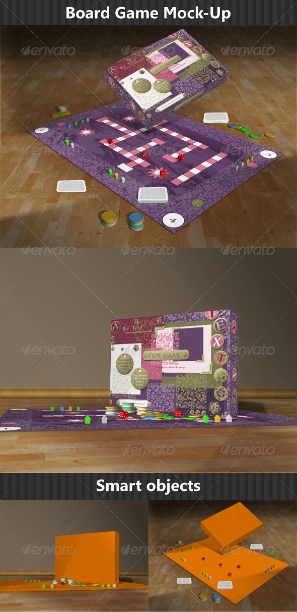 Board Game Mock-Up - Packaging Product Mock-Ups