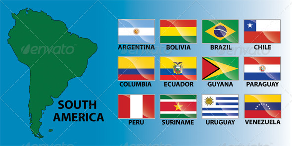 South America Continent & Country Flags - Travel Conceptual