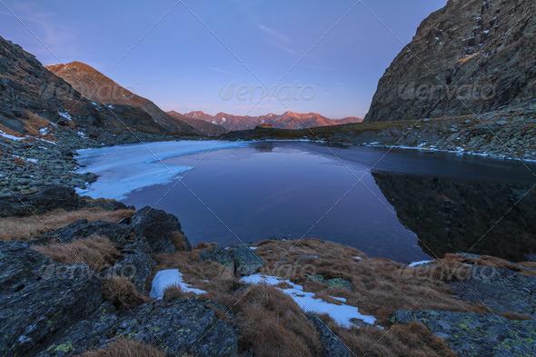 Caltun lake in Fagaras Mountains - Stock Photo - Images