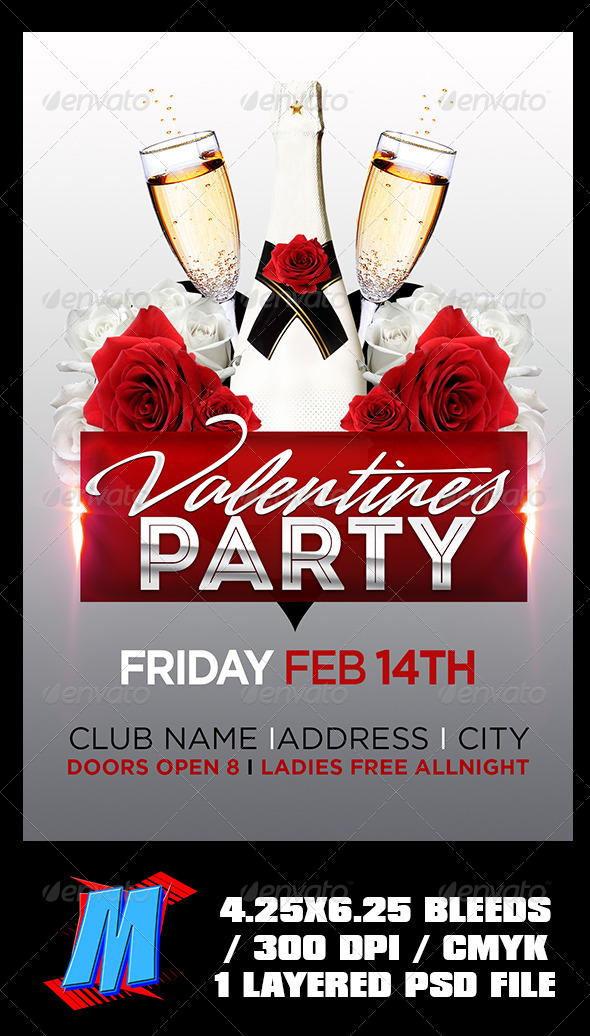 Valentines Party Flyer Template By Megakidgfx Graphicriver
