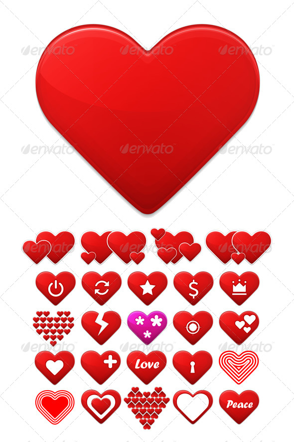 Heart Icons Set - Vectors