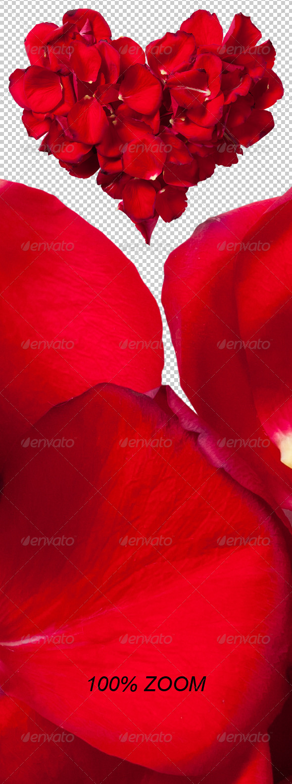 Red Rose Petals Heart Photo-realistic - Nature & Animals Isolated Objects