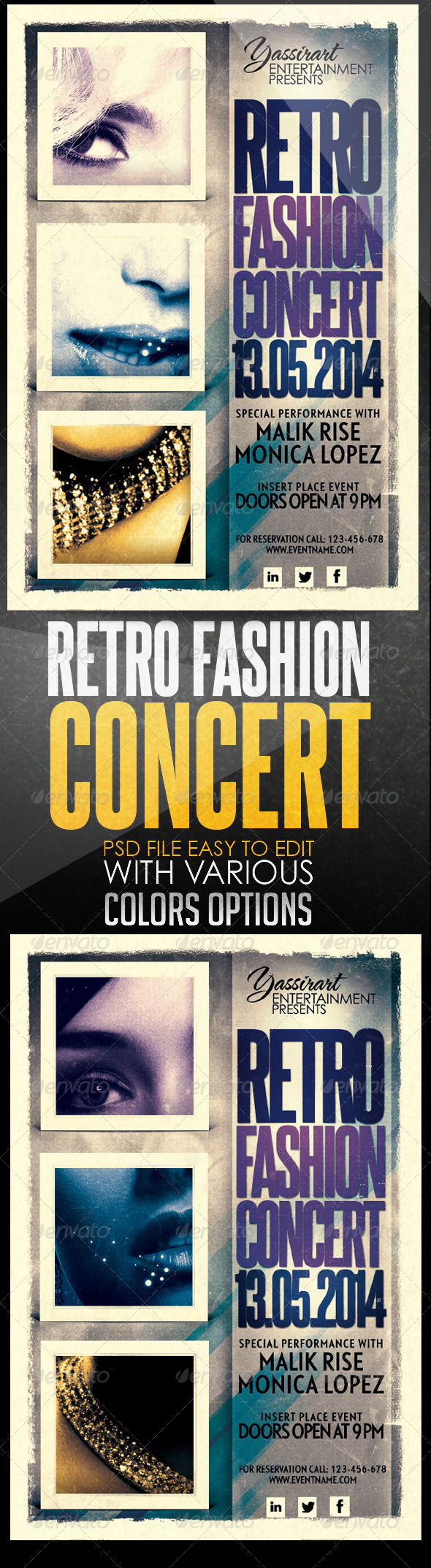 Retro Fashion Concert Flyer Template - Clubs & Parties Events